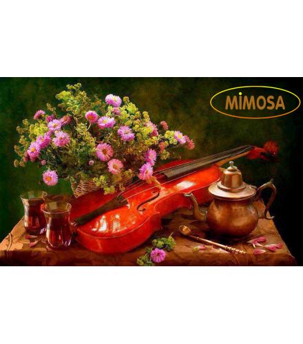 Tranh sơn dầu tĩnh vật_Bông Cúc và Violin MM015