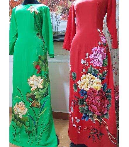 Tranh vẽ áo nghệ thuật-Hoa mẫu đơn MVA003